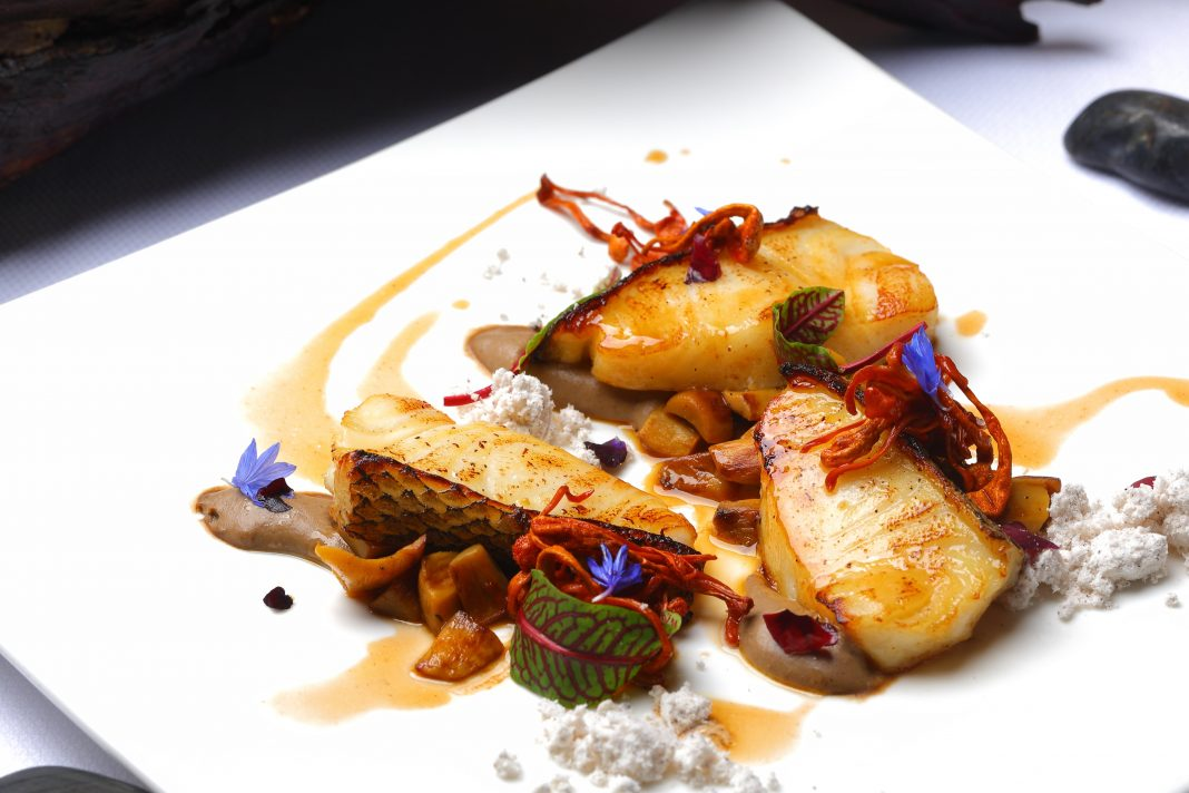 Black cod with whiskey sauce and fried mushroom
