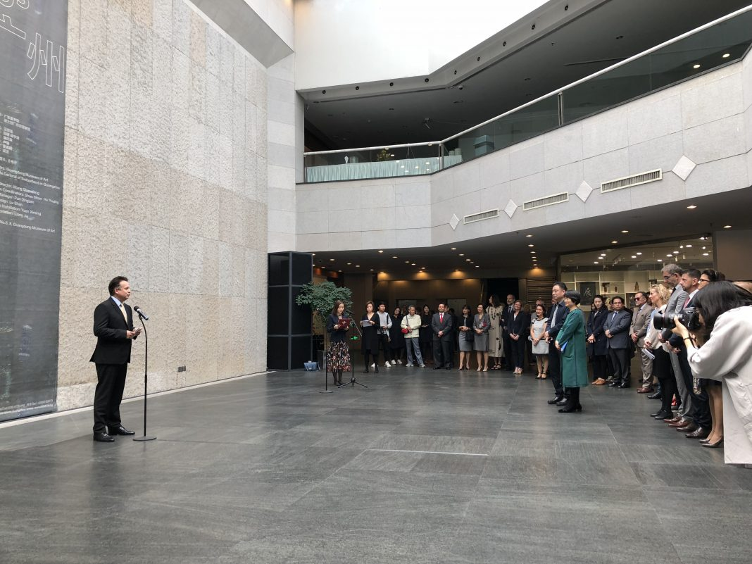 "Mr. Didier Boschung, Consul General of Switzerland in Guangzhou delivered an opening speech for ""Drifting Guangzhou"" exhibition at Guangdong Museum of Art."