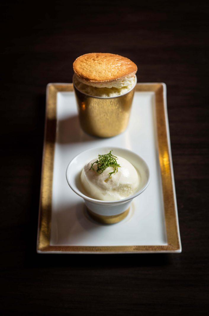 芒果梳乎厘配乳酪雪葩   Mango souffle with yogurt sorbet