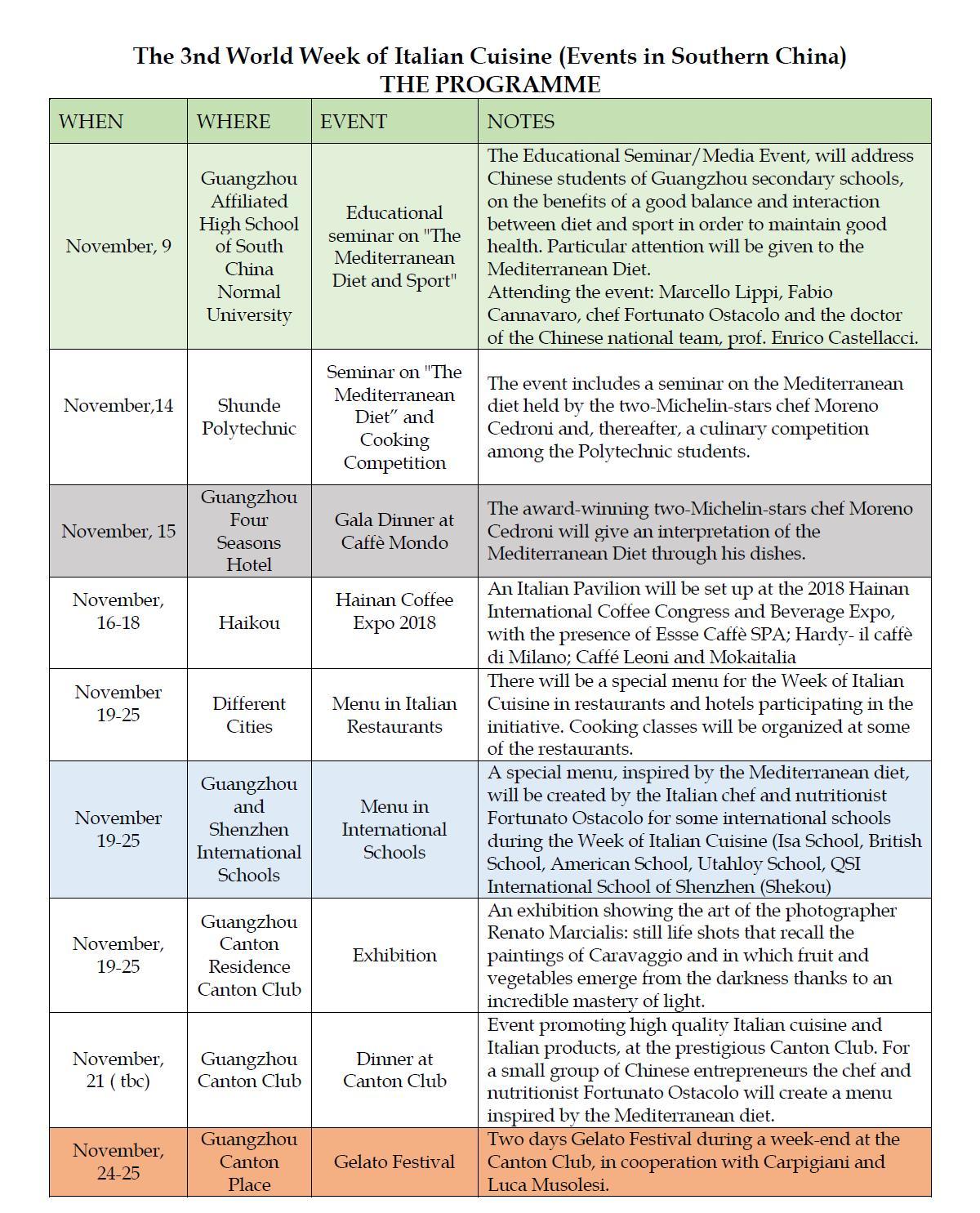 活动安排(英文) | Event Programmes (English)