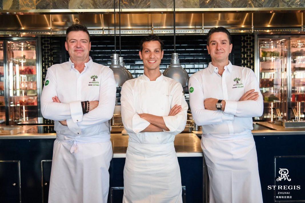 从左到右:René Mathieu 大厨, Michele Tenzone 大厨,Ilario Mosconi大厨   From left to right chef René Mathieu, chef Michele Tenzone, chef Ilario Mosconi