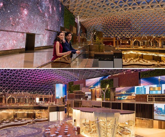 美狮美高梅视博广场天幕被评为最大的悬跨网架式结构玻璃屋顶(自支撑),是澳门首个建筑及结构范畴的吉尼斯世界纪录荣誉。 | MGM COTAI's Spectacle has achieved a GUINNESS WORLD RECORD title for the largest free-span gridshell glazed roof, being the first architectural and structural GUINNESS WORLD RECORDS title for Macau, China.