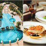 左:深圳朗廷酒店户外泳池;右:唐阁特色菜式 | Left: Swimming pool at The Langham, Shenzhen; Right: Tang Court